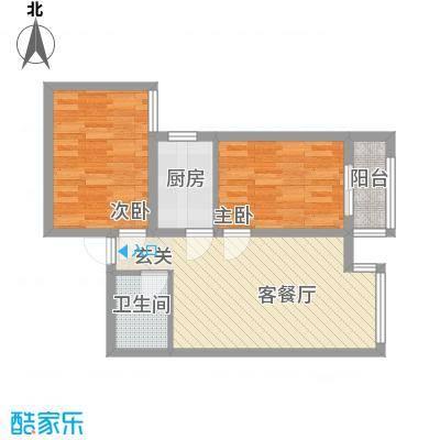 百花家园户型图3#7 2室2厅1卫1厨