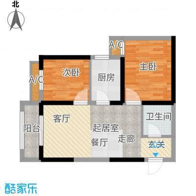 莱茵小城户型图2# f 户型 2室2厅1卫