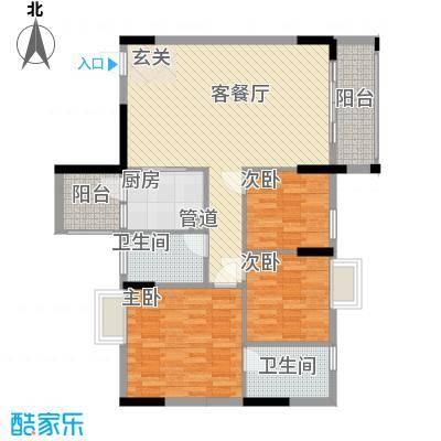 逸林首府户型图4座03户型 3室2厅1卫1厨