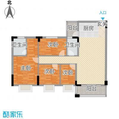名尚轩104.00㎡名尚轩户型图三座014室2厅2卫1厨户型4室2厅2卫1厨