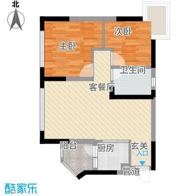 美的简岸花园67.34㎡美的简岸花园户型图晴轩5栋四-十八层04单元2室2厅户型2室2厅