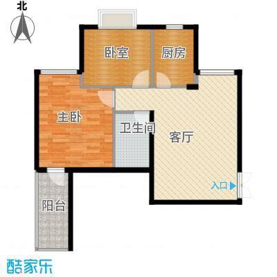 锦绣家园65.89㎡户型1室1厅1卫1厨