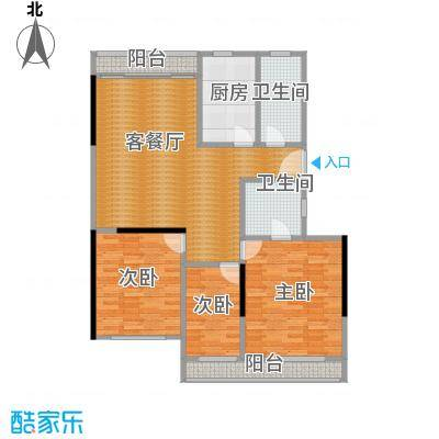 裕园公寓77.00㎡户型3室1厅2卫1厨