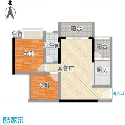 恒福新城81.19㎡33座305单位户型2室2厅1卫1厨