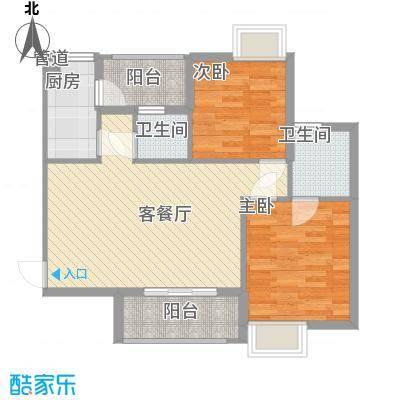 领地海纳天河花园89.73㎡2栋一层03户型2室2厅2卫1厨