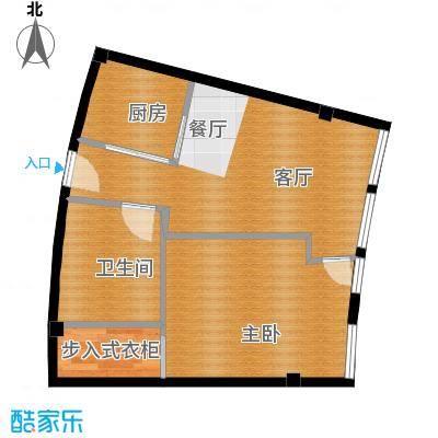 同方国际45.77㎡E户型1室1厅1卫1厨
