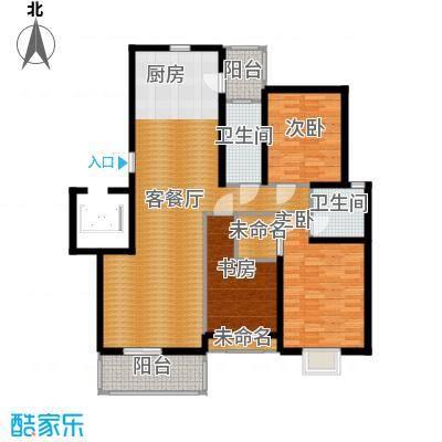 金海香滨湾136.00㎡户型3室1厅2卫