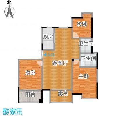 上东名筑117.06㎡户型3室1厅2卫1厨