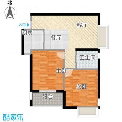 上东名筑67.29㎡户型2室1厅1卫1厨