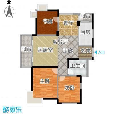 东新园茗盛苑95.10㎡户型3室1厅1卫1厨