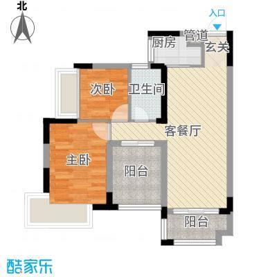 唯美尚筑75.00㎡唯美尚筑户型图C203户2室1厅1卫1厨户型2室1厅1卫1厨