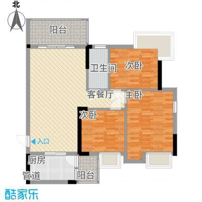 领地海纳天河花园88.00㎡领地海纳天河花园户型图8栋标准层05户型3室2厅户型3室2厅