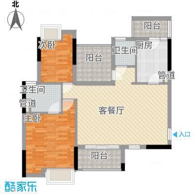 领地海纳天河花园88.89㎡领地海纳天河花园户型图4、5栋标准层02、05户型2室2厅户型2室2厅
