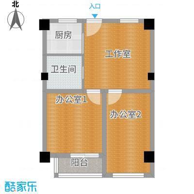 彩虹湖77.00㎡商务公寓2、3号楼H'户型1卫1厨