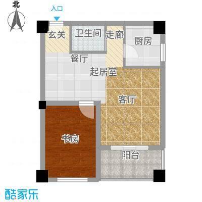 彩虹湖77.60㎡商务公寓2、3号楼F'户型1室1卫1厨