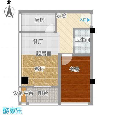彩虹湖56.50㎡商务公寓2、3号楼E'户型1室1卫1厨