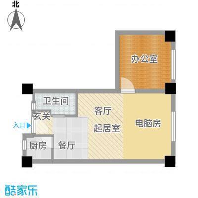 彩虹湖63.20㎡商务公寓2、3号楼B'户型1卫1厨