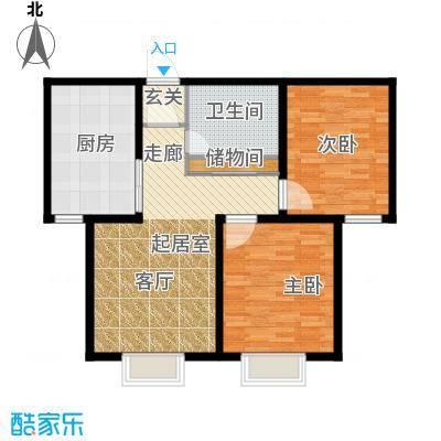 游龙逸海庭院87.91㎡二期公寓产品B户型2室1卫1厨