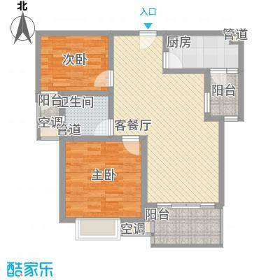 紫云花园84.00㎡紫云花园2室户型2室