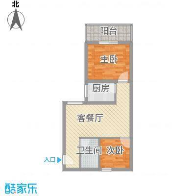 文景雅苑65.72㎡1号楼D户型2室2厅1卫1厨