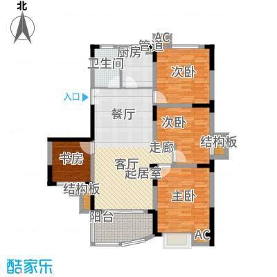 紫金山庄户型图G2 3室2厅1卫