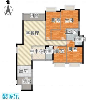 锦城南苑户型图B栋01正南向 4室2厅2卫1厨