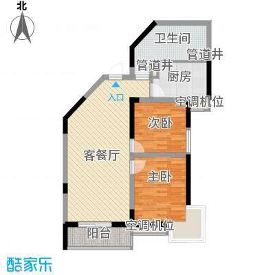 蔚蓝领寓户型图2号楼E户型 2室2厅1卫1厨
