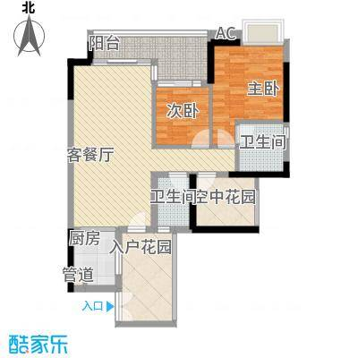 中海锦榕湾106.82㎡中海锦榕湾户型图J6栋05单元户型图2室2厅2卫1厨户型2室2厅2卫1厨