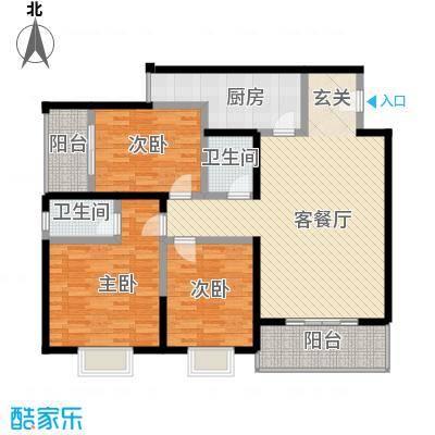 紫薇田园都市配套公寓156.00㎡紫薇田园国际公寓户型3室2厅2卫1厨