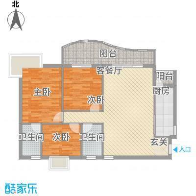 金狮华庭118.58㎡金狮华庭户型图3房2厅户型图3室2厅2卫1厨户型3室2厅2卫1厨