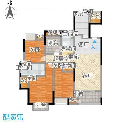 协信阿卡迪亚129.00㎡129平米户型3室2厅2卫1厨