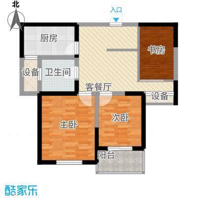 蓉湖山水93.00㎡一期B8号楼高层户型3室2厅1卫