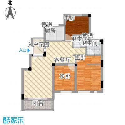 蓉湖山水89.00㎡一期高层A2号楼户型3室2厅2卫