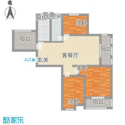 水岸观邸117.48㎡水岸观邸户型图Gc5反3室2厅1卫1厨户型3室2厅1卫1厨