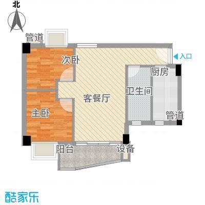 尚境雅筑70.00㎡A1户型图03单元户型2室2厅