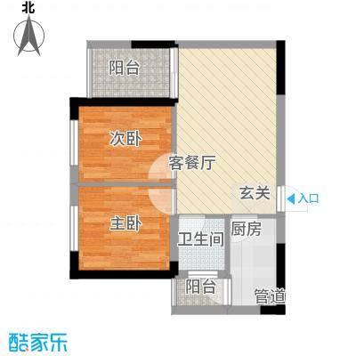 七里香榭户型图6#楼14户型 2室2厅