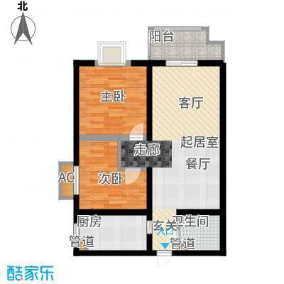 凯悦华庭 户型图 2室2厅1卫