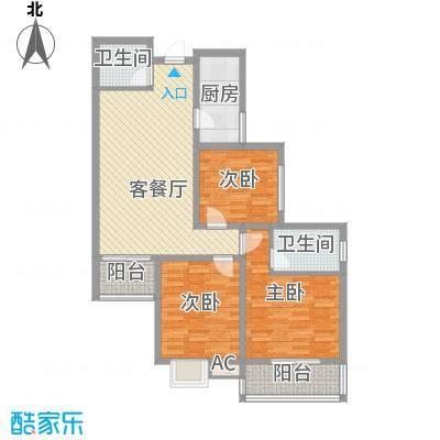 �灞天睦城户型图A户型 3室2厅2卫1厨
