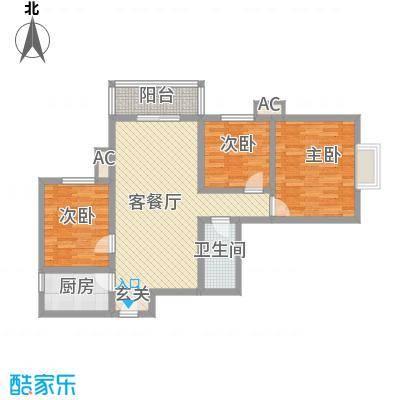 �灞天睦城户型图D户型 3室2厅1卫1厨