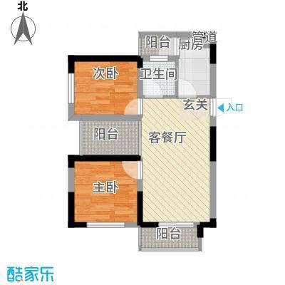 七里香榭户型图6#楼15户型 2室2厅