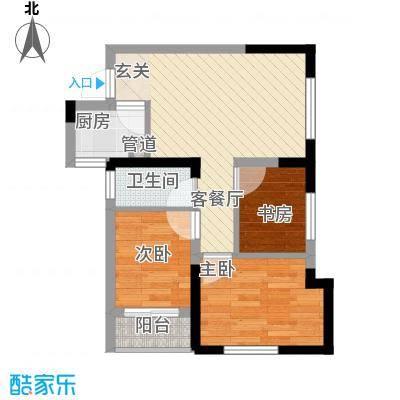七里香榭户型图6#楼06户型 3室2厅