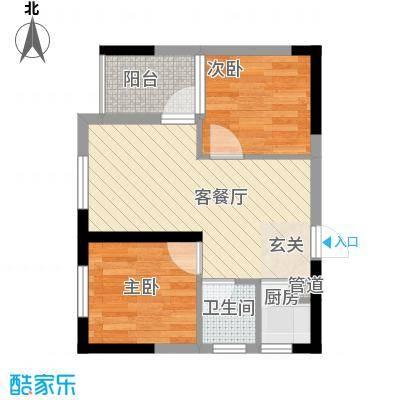 七里香榭户型图6#楼12户型 2室2厅