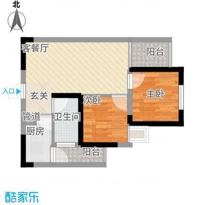 七里香榭户型图6#楼02户型 2室2厅
