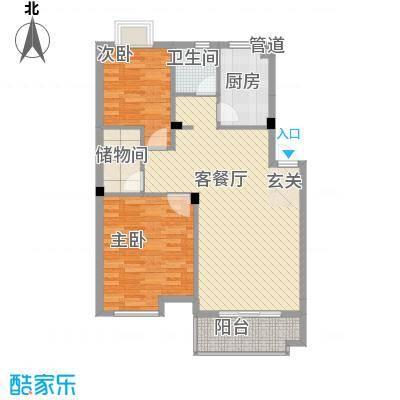 岸上玫瑰90.00㎡岸上玫瑰户型图I型2室2厅1卫户型2室2厅1卫