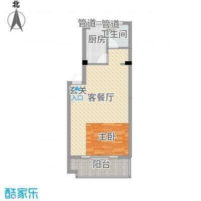岸上玫瑰57.00㎡岸上玫瑰户型图J型1室1厅1卫1厨户型1室1厅1卫1厨