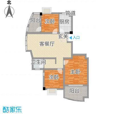 岸上玫瑰111.00㎡岸上玫瑰户型图F型3室2厅1卫户型3室2厅1卫