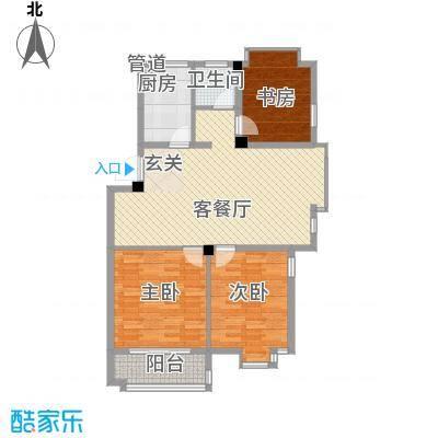 岸上玫瑰98.00㎡岸上玫瑰户型图B型3室2厅1卫户型3室2厅1卫
