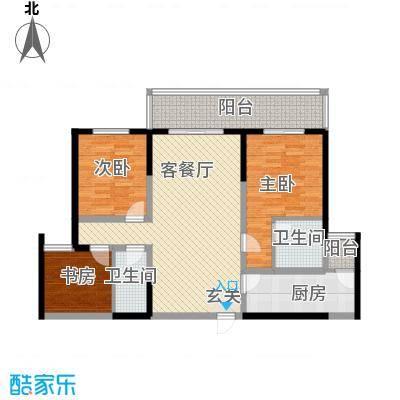 海荣名城二期127.22㎡HR8户型3室2厅2卫1厨