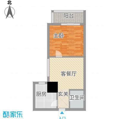 海荣名城二期65.36㎡HR5户型1室1厅1卫1厨