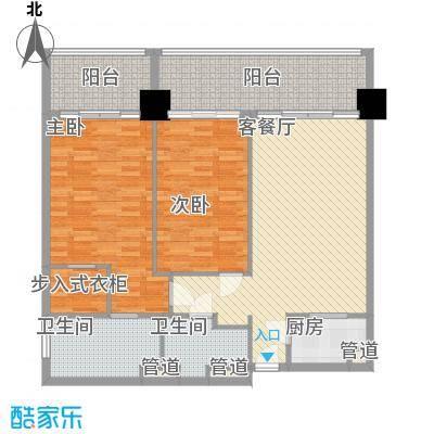 锦绣香江布查特国际公寓129.00㎡2室2厅户型2室2厅2卫1厨